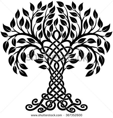 Vector ornament, decorative black and white Celtic tree of life - stock vector