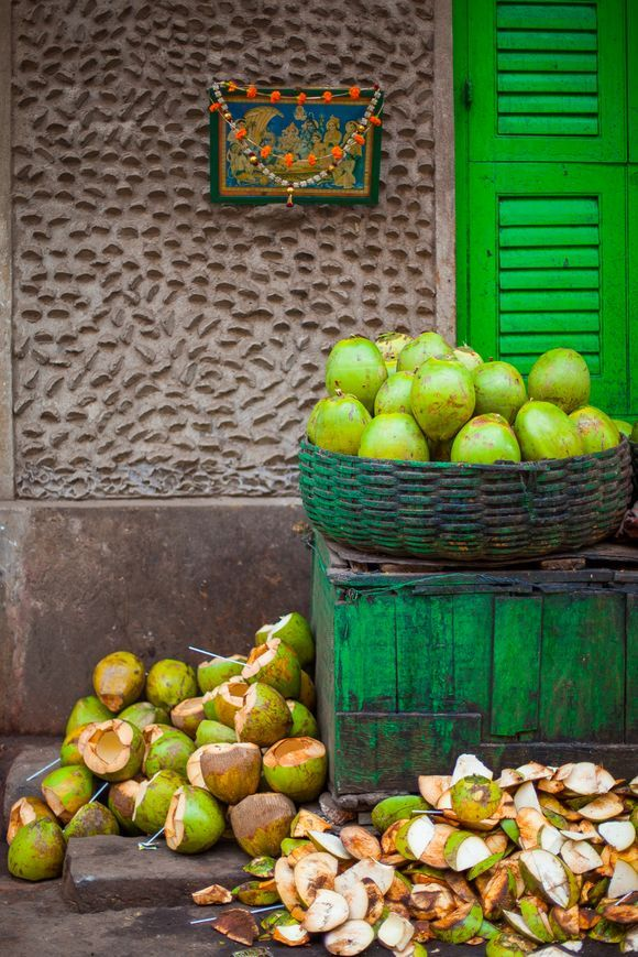 Coconuts for sale in the streets of Kolkata, Bengal, India. Photo © Kyla Bailey Photography 2014