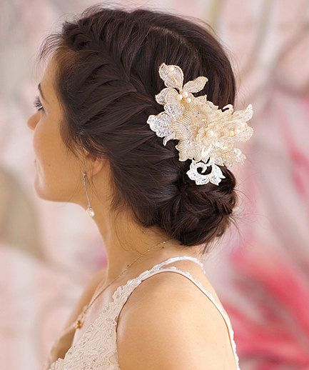 Floral Bridal lace headpiece Bridal by FancyBOWtiqueBridal on Etsy, £65.00