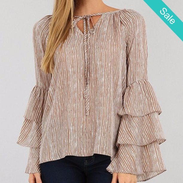 Poet Sleeve Top - Great Unique stylish Top! This one is Bae! Cotton/poly blend, Machine wash Tumble Dry low. - On Sale for $29.00 (was $38.00)