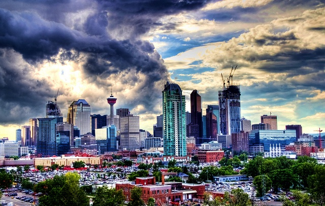 Great storm clouds, with some unreal colors #calgary #alberta #canada #city #travelcanada