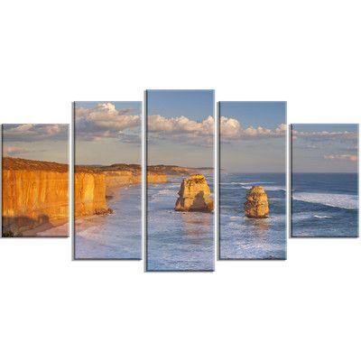 DesignArt 'Twelve Apostles on Ocean Road' 5 Piece Wall Art on Wrapped Canvas Set