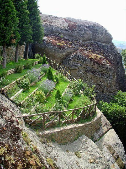 Spectacular suspended cliff garden at Meteora, Gre...
