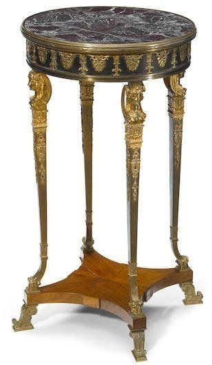 A 19TH CENTURY FRENCH GILT AND PATINATED BRONZE TABLE : Lot 174
