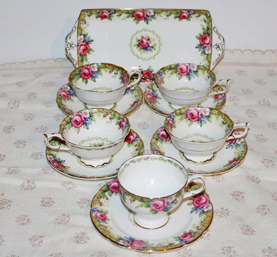 PARAGON Tapestry Rose Teacups and Saucers Lot 11