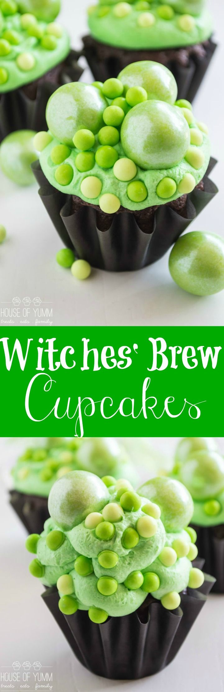 Witches' Brew Cupcakes, Bubbly Green Witches' Brew Cupcakes perfect for Halloween!
