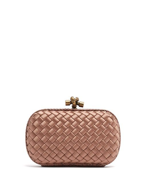 cab6647664 Bottega Veneta Knot satin and watersnake clutch