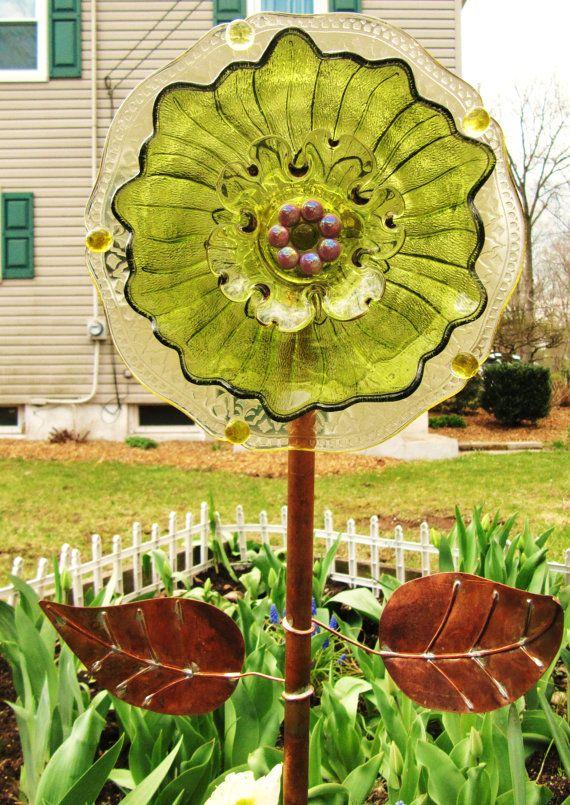 Glass Garden Art Flower Yard Art Art Glass By ADelicateTouch1