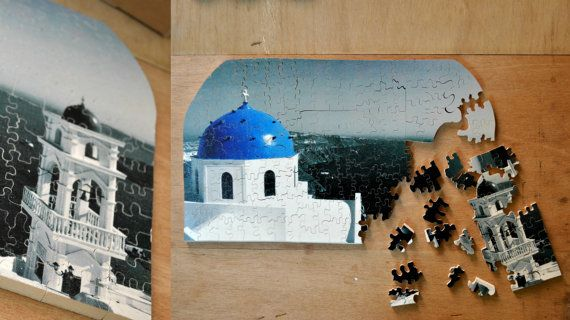 A feeling of Greece, through an image of one of the most well known and most visited islands of the Aegean sea!! Santorini - hand cut wooden puzzle
