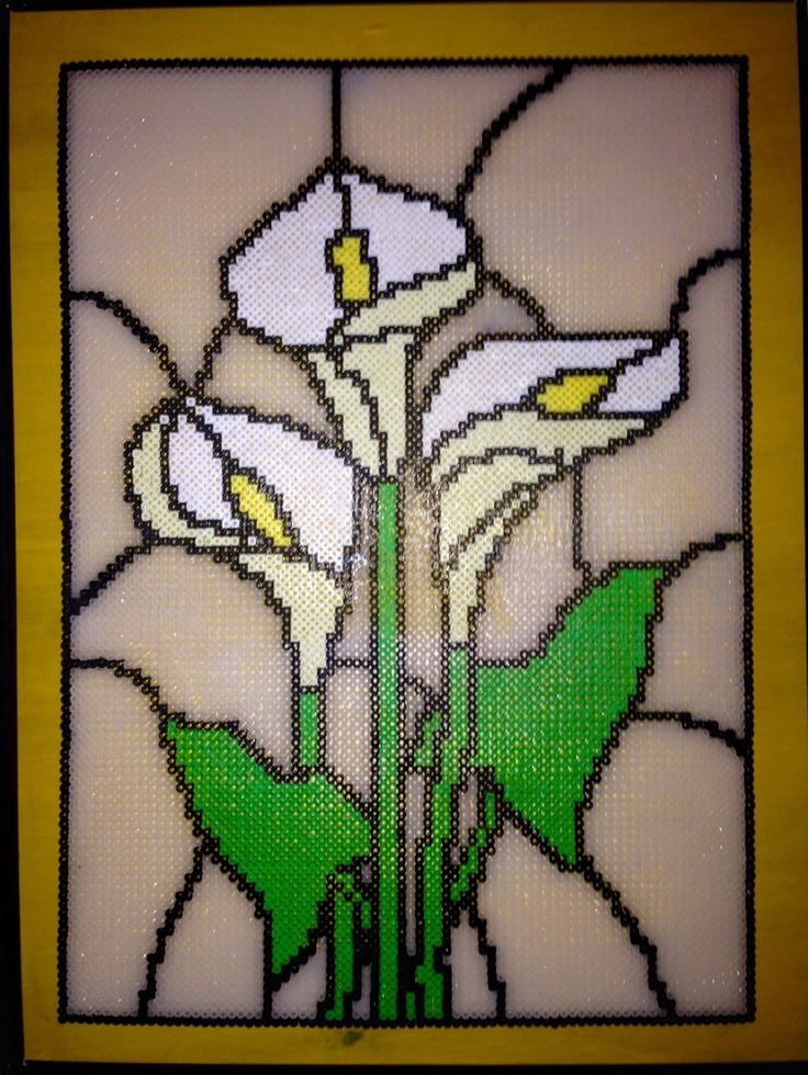 Large stained glass inspired Perler bead art by DearGawd
