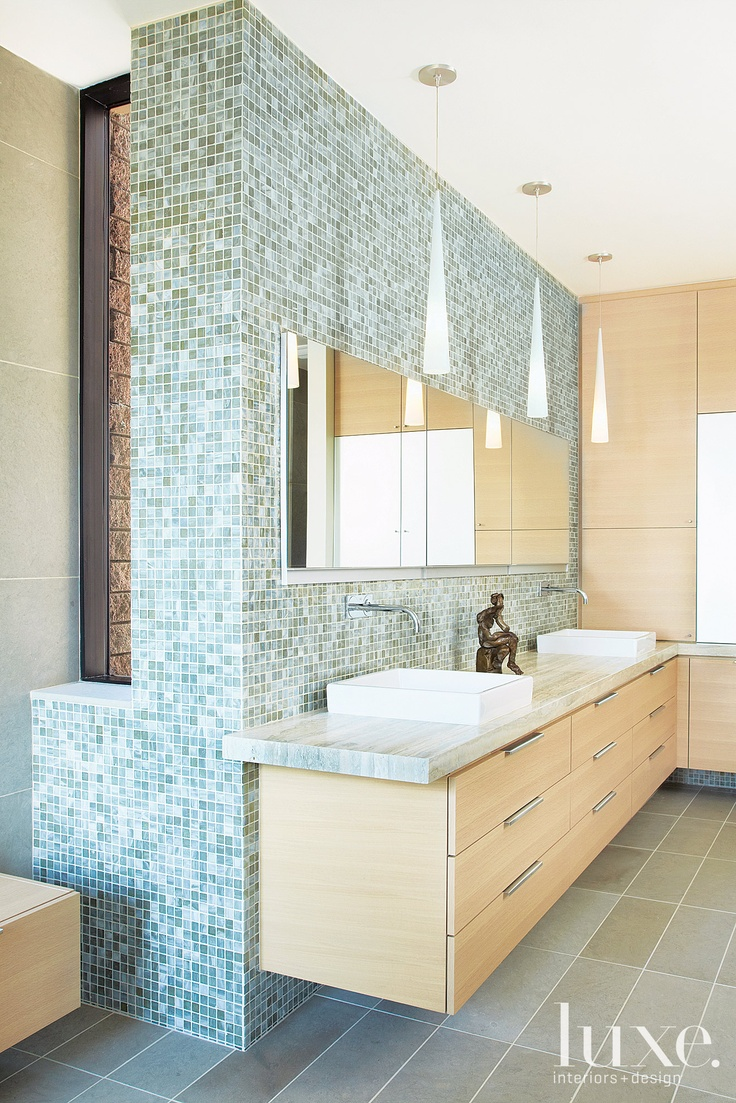 157 best walker zanger tiles images on pinterest bathrooms master walker zangers vintage glass in onyx lustre makes this bathroom shine dailygadgetfo Image collections
