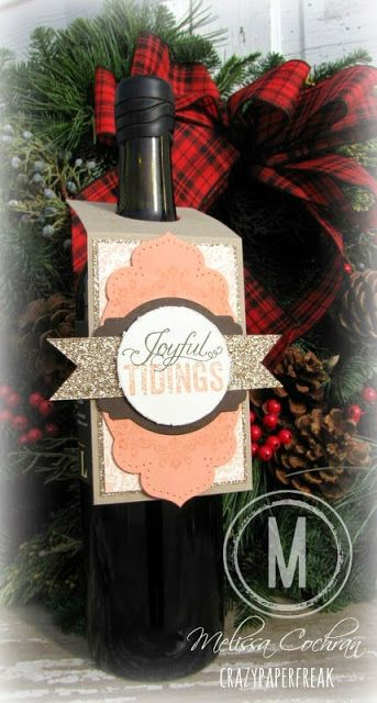 Stampin' Up! Wine bottle gift tag created by Melissa @ crazypaperfreak.blogspot.com. Supplies: Cardstock ~ Crumb Cake, Very Vanilla, Crisp Cantaloupe, Early Espresso DSP ~ Glimmer paper in Champagne Ink ~ Crisp Cantaloupe, Early Espresso Stamp Sets, Beautifully Baroque, Daydream Medallions, Christmas Messages