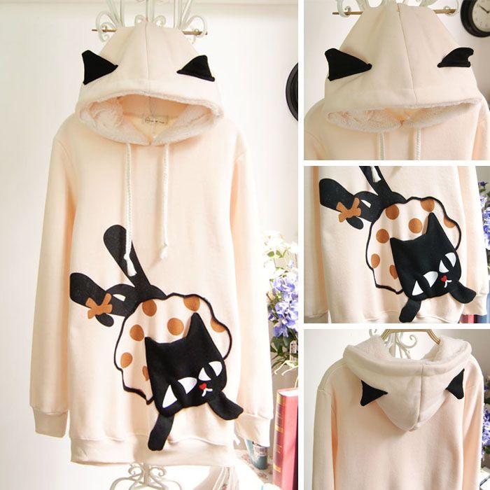 lovely christmas hoodie cat sweet cute fleece thick