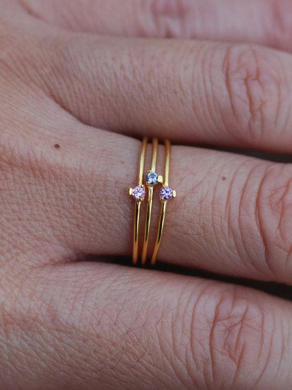 stapelen ring set dunne sierlijke ringen gouden door StudAndStuff