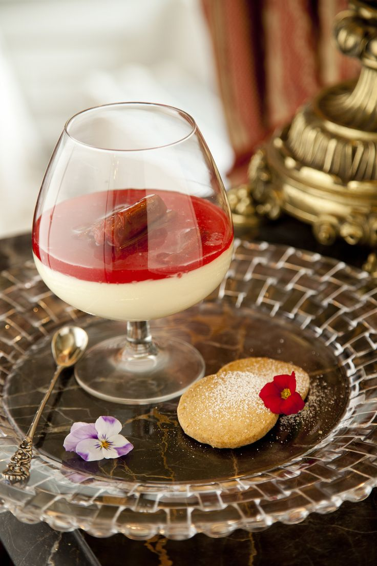 Vanilla Panna Cotta, Roasted, Rhubarb, Fine Shortbread - Weddings & Events - Claire Hanley - The Honorable Society of King's Inns.