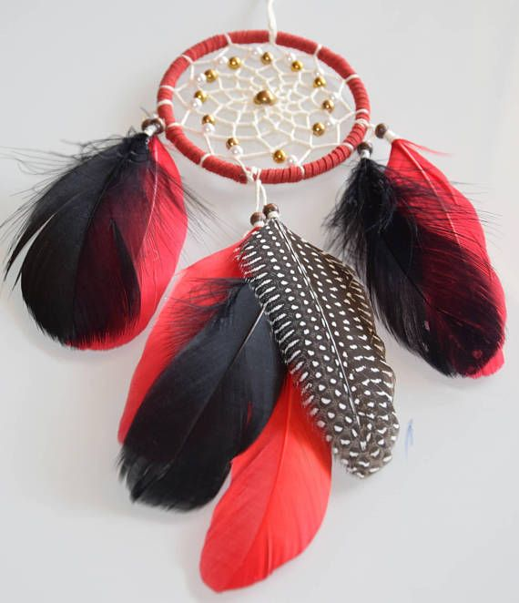 Dream Catcher Red and Black  Gift for Men Women Small Car