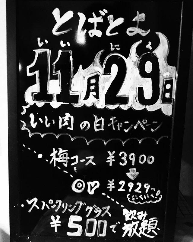 11月29日は,いい肉の日‼️ と、言う訳で、キャンペーンをやります‼️ 梅コースを本来であれば、¥3900のところを、¥2929(税抜)でご提供⭐️ もしくは、¥500で、スパークリングワイン(赤・白)を飲み放題🍷‼️ 是非、足を運んでみてください‼️🌕 #肉料理とばとよ  #とばとよ  #肉料理 #ワイン #飲み放題 #ディナー#京都ディナー #スパークリングワイン #京都 #四条 #レストラン #肉 #和食 #堀川四条 #おいしい