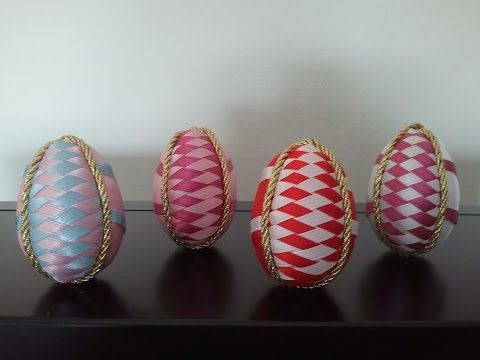 Uova di Pasqua con nastrino in patchwork senz'ago tutorial - Easter eggs patchwork - YouTube