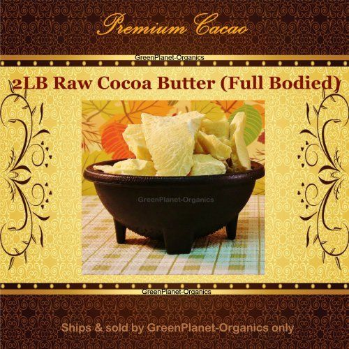 """2lb Raw True Cocoa Butter with Full Bodied Flavor and Aroma (by GreenPlanet-Organics) by Premium Cacao. $20.45. 100% True Cocoa Butter ships & sold exclusively by GreenPlanet-Organics. Fair-Trade Premium Cacao. Unrefined, Raw Full Bodied Flavor & Aroma. Freshest Batch Guaranteed. Smells Delicious, great for baking as well as skin care. Just try our Cocoa Butter once and you will be hooked. You will truly be enticed by the rich deep aroma of our """"True Cocoa"""" Butter, smo..."""