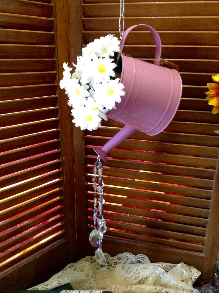 WHIMSICAL WIND-SONG (watering can, purple), wind chime, sun catcher, purple white, upcycle, repurposed, garden decor by EffiesEclecticCloset on Etsy