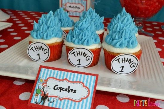 Dr. Seuss Cat in the Hat & Thing One Thing Two cupcake