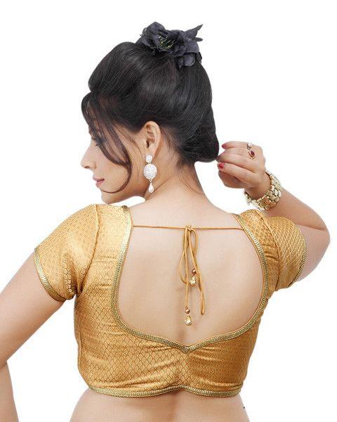 Gold SL Brocade Readymade Partywear Saree Blouse X-108