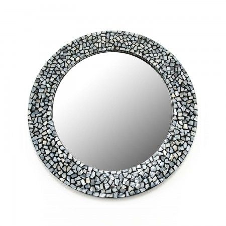 Beautifully designed round mirror with intricate grey mother of pearl work makes for a wonderful online wedding gift.