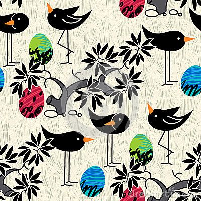 Seamless pattern. Cute birds, eggs on textured background for poster, card, invitation, brochure, flyer