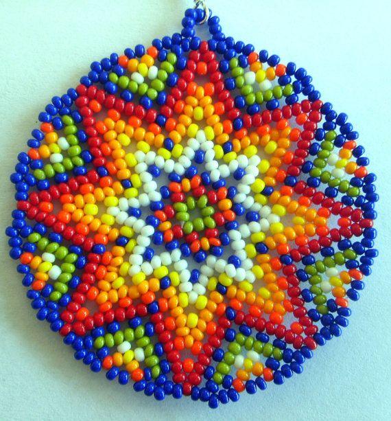 Mexican Huichol Beaded earrings by Aramara on Etsy