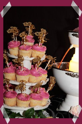 Masquerade Ball Table Decorations | Masquerade Decorations and Supplies not these colors but we could do cute cupcakes with awesome small cake...cheaper!