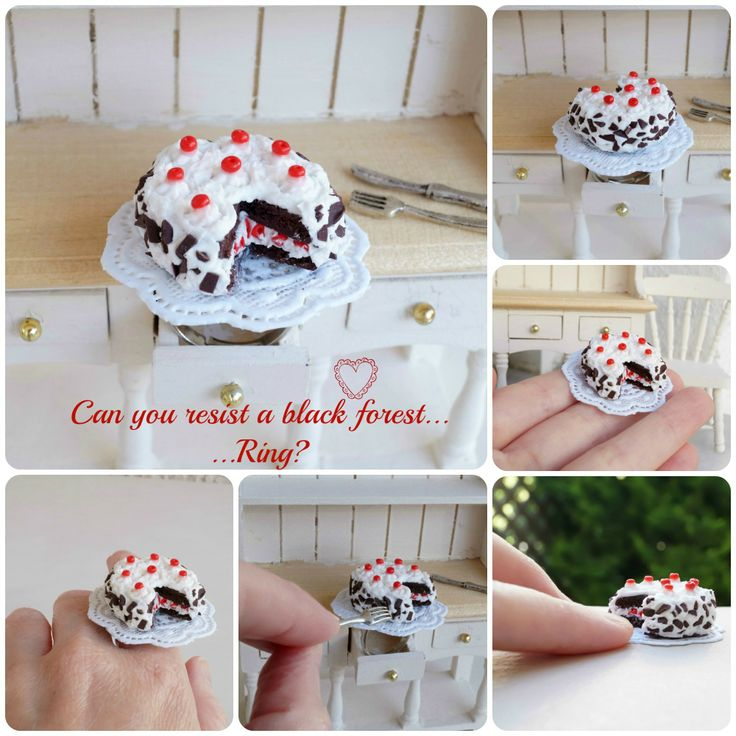 ''Delicious black forest''Ring! Wearable-collectable sweet miniatures!