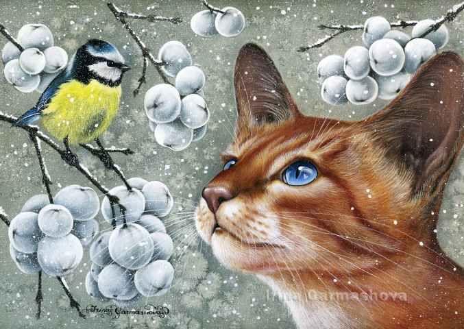 Irina Garmashova - Cats & Botanicals: Snowberry