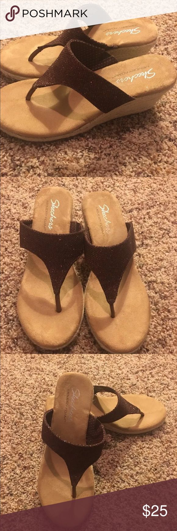 Skechers wedges memory foam Worn once!!! Skechers Shoes Sandals