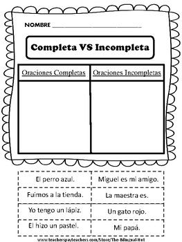 5 paginas de corta y pega. Cada pagina tiene 8 oraciones.-4 oraciones completas-4 oraciones Incompletas***CLICK FOLLOW ME FOR MORE OF MY PRODUCTS***