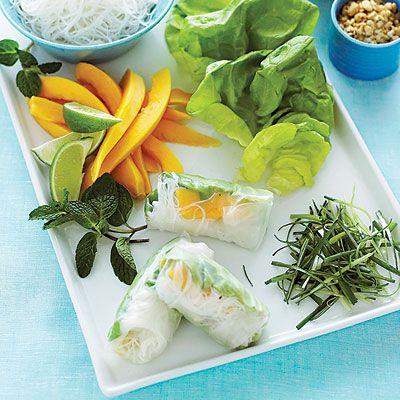 Chicken Papaya Spring Rolls.: Fun Recipes, Diy Chicken, Spring Roll Recipes, 10 Healthy, Yum, Spring Rolls Recipes, Healthy Appetizers, Chicken Papaya, Papaya Spring