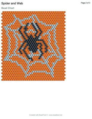 Spooky Spider and Web Peyote Stitch Amulet Bag Free Beading Pattern: Bead Graph and Materials Needed