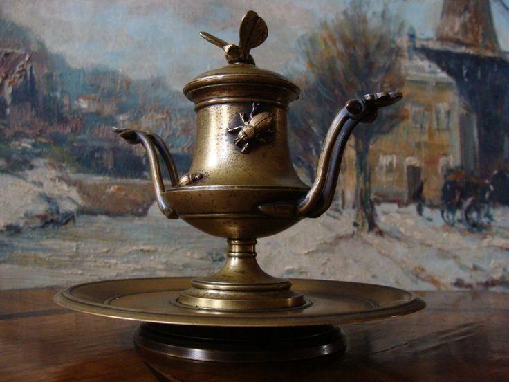 Tintenfaß Bronze Insekten Stiftablage Historismus um 1850 Schreibtischgarnitur