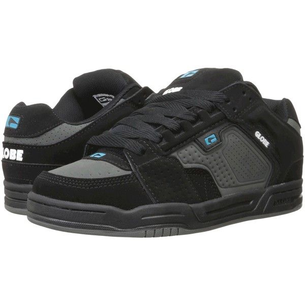 Globe Scribe (Black/Charcoal/Blue) Men's Skate Shoes ($48) ❤ liked on Polyvore featuring men's fashion, men's shoes, men's sneakers, multi, mens black skate shoes, mens shoes, mens black shoes, mens blue shoes and mens black sneakers