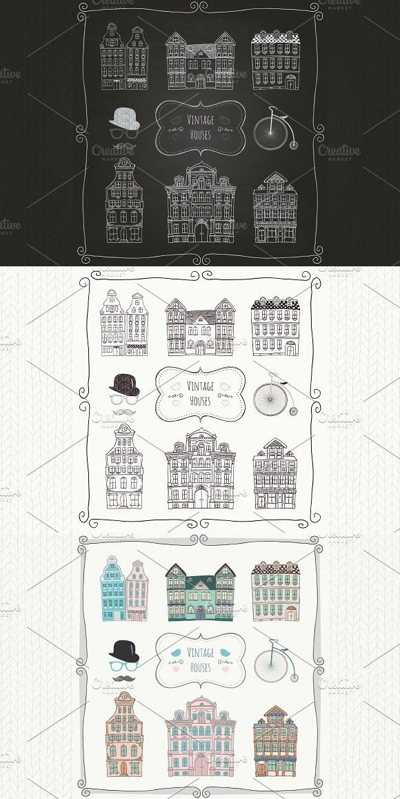 Vintage Old Styled Houses Vintage Home Icon Vintage House
