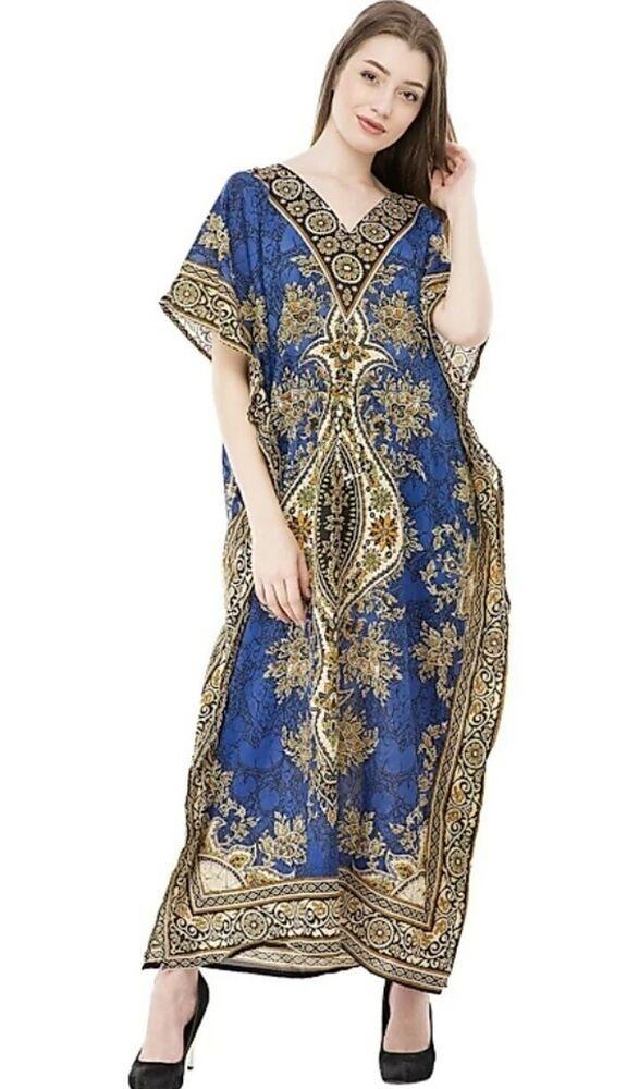 901a4a73ce Women's Kaftan Tunic Kimono Dress Summer Evening Plus Size Beach Cover Up  Blue #fashion #