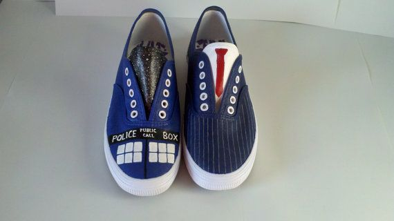 Doctor Who Tenth Doctor shoes by WhiskyFoxtrot on Etsy, $55.00