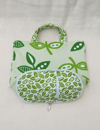 Original folding handbag of beautiful fabrics. The bottom of the bag is a small purse.