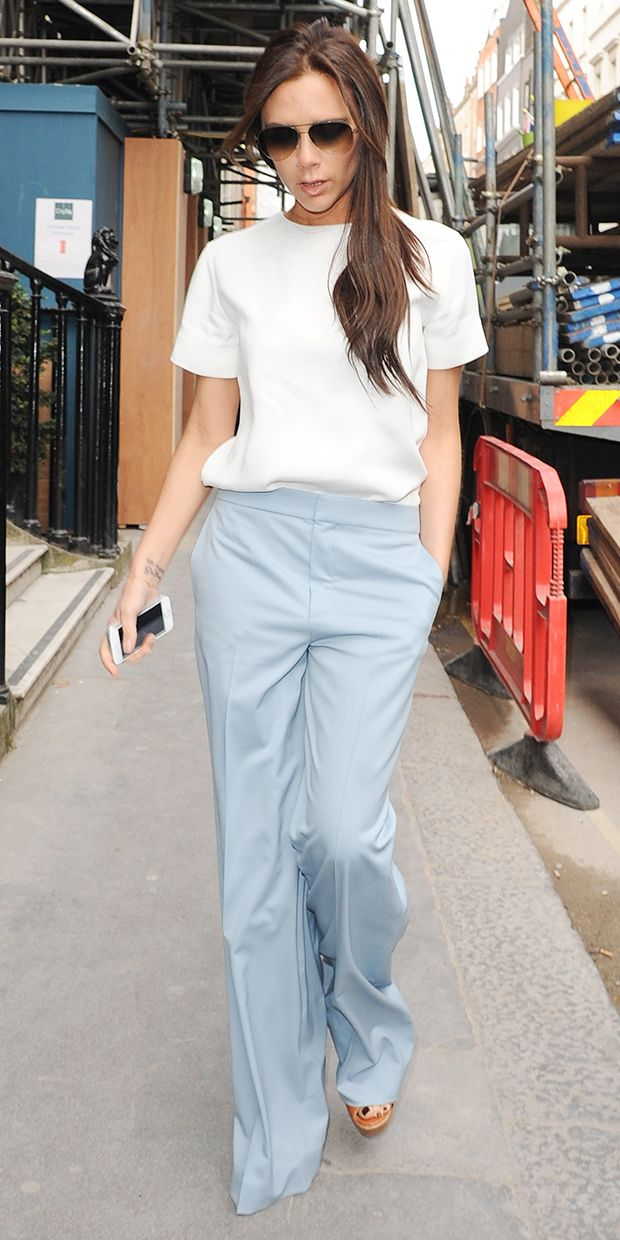 Victoria Beckham's Simply Chic Separates // Equipment top, Chloe heels and pants