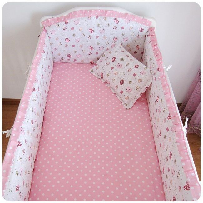 42.20$  Buy now - http://alibwl.worldwells.pw/go.php?t=32380144690 - Promotion! 6pcs Pink Baby Crib Bedding set for girls Cot bed kit Bumper Pillow bed rest (bumpers+sheet+pillow cover) 42.20$