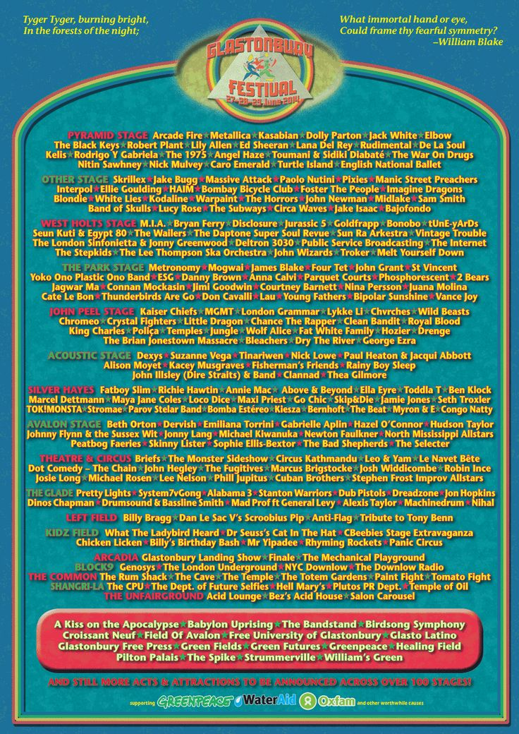 glastonbury festival lineup 2014  Peace