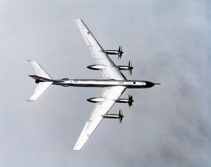 Soviet Air Forces Tupolev Tu-95 Bear in flight, May 1974. Built to be a bomber…