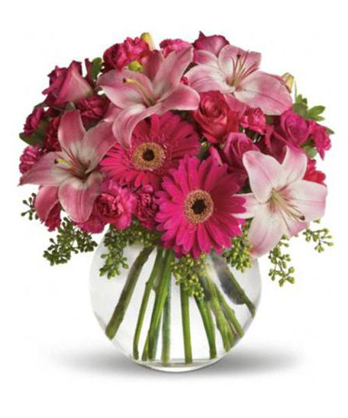 Sometimes all she needs is a little pink me up! An ideal pick for anyone whose favorite color is pink, this stylish mix is full of variety and comes presented in a clear glass bubble bowl she'll use again and again. A wide variety of flowers including pink roses, pink asiatic lilies, hot pink gerberas, pink carnations and hot pink miniature carnations are mixed with fresh variegated pittosporum and seeded eucalyptus.