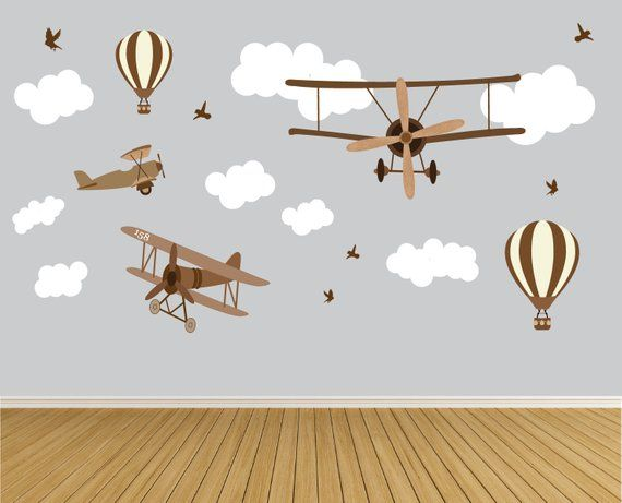 Vintage Airplane Wall Decals Nursery Wall Decals Hot Air Etsy Airplane Wall Nursery Wall Decals Airplanes Wall Decals