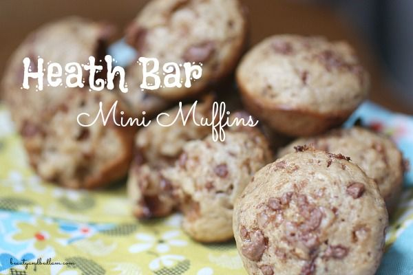 These delicious Heath Bar Muffins (made in minis or regular) offer a hint of crunchy toffee goodness in each bite.