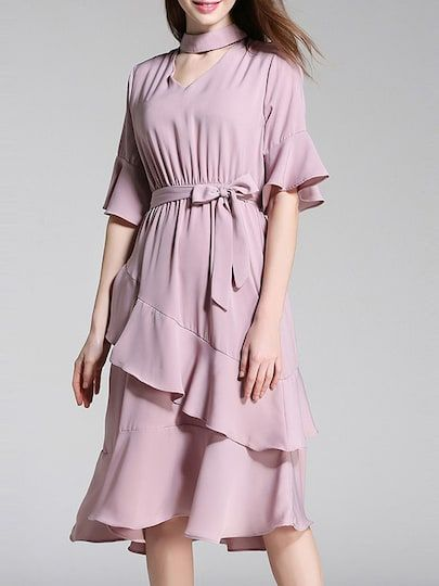 5c968cc6ea Choker Neck Bell Sleeve Ruffle Dress #shein #sheinside #dresses #fashion  #cocktail_dresses, #partydresses, dresses,cocktail dresses, party dresses,  ...